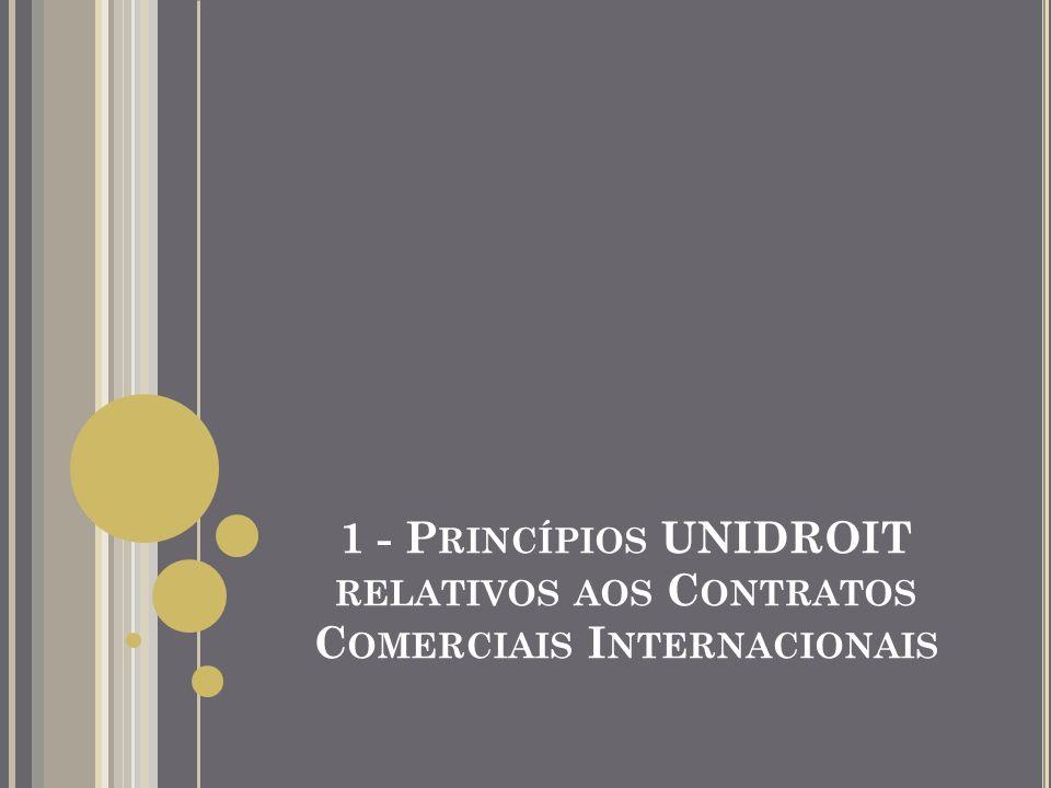ORIGEM DOS PRINCÍPIOS Instituto UNIDROIT Organização intergovernamental independente Criada em 1926 Tem sede em Roma tem 61 Países – Membros Missão: Modernização e harmonização do Direito Privado Adopção de Regras Uniformes de Direito Privado