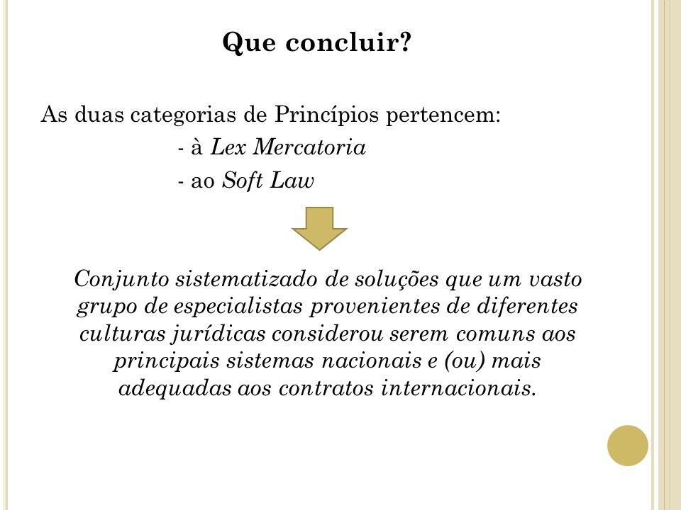 Que concluir? As duas categorias de Princípios pertencem: - à Lex Mercatoria - ao Soft Law Conjunto sistematizado de soluções que um vasto grupo de es