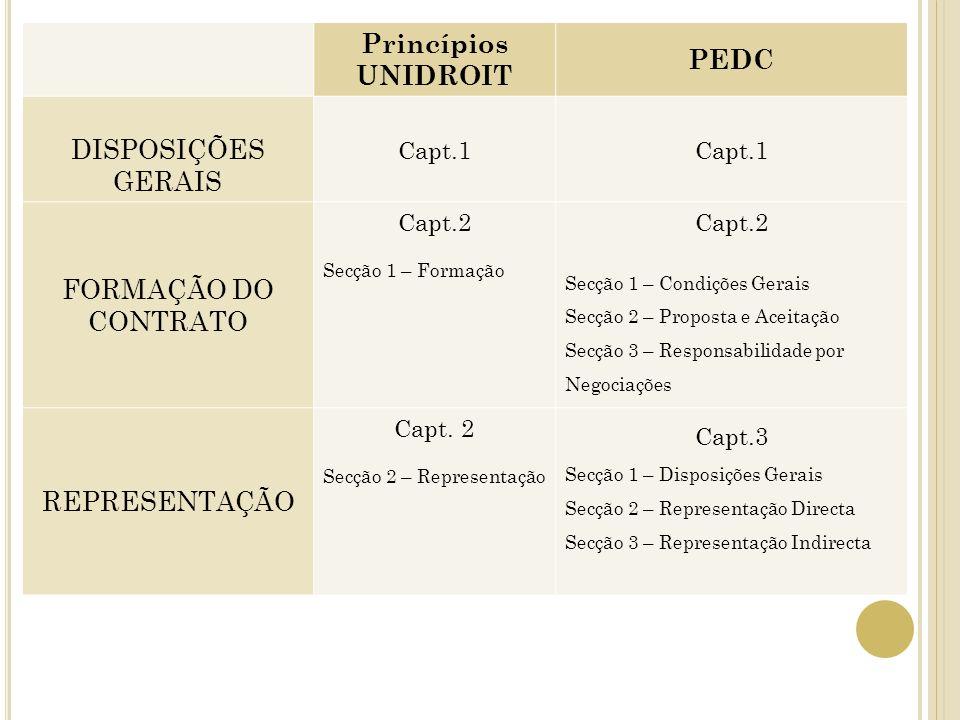 Princípios UNIDROIT PEDC DISPOSIÇÕES GERAIS Capt.1 FORMAÇÃO DO CONTRATO Capt.2 Secção 1 – Formação Capt.2 Secção 1 – Condições Gerais Secção 2 – Propo
