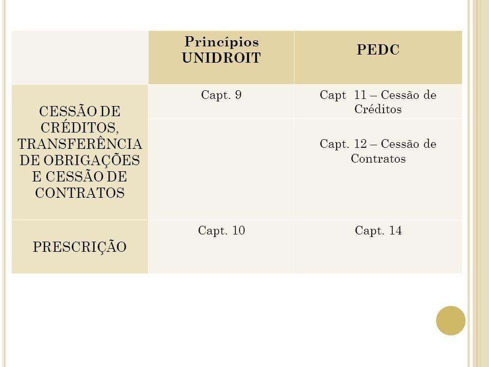Princípios UNIDROIT PEDC CESSÃO DE CRÉDITOS, TRANSFERÊNCIA DE OBRIGAÇÕES E CESSÃO DE CONTRATOS Capt. 9Capt 11 – Cessão de Créditos Capt. 12 – Cessão d