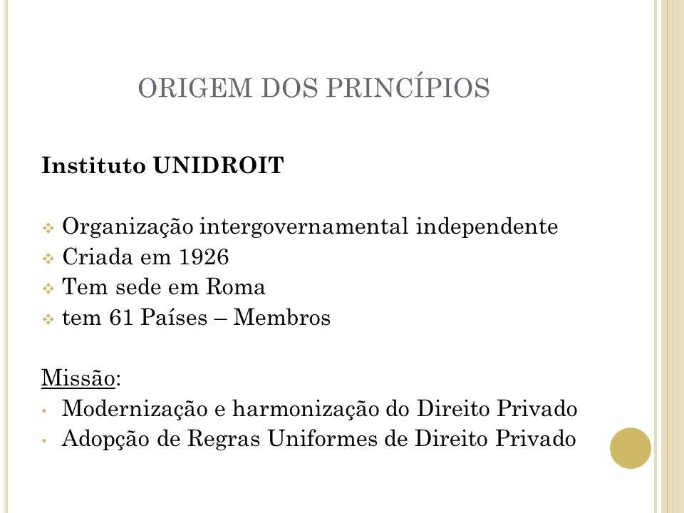 ORIGEM DOS PRINCÍPIOS Instituto UNIDROIT Organização intergovernamental independente Criada em 1926 Tem sede em Roma tem 61 Países – Membros Missão: M