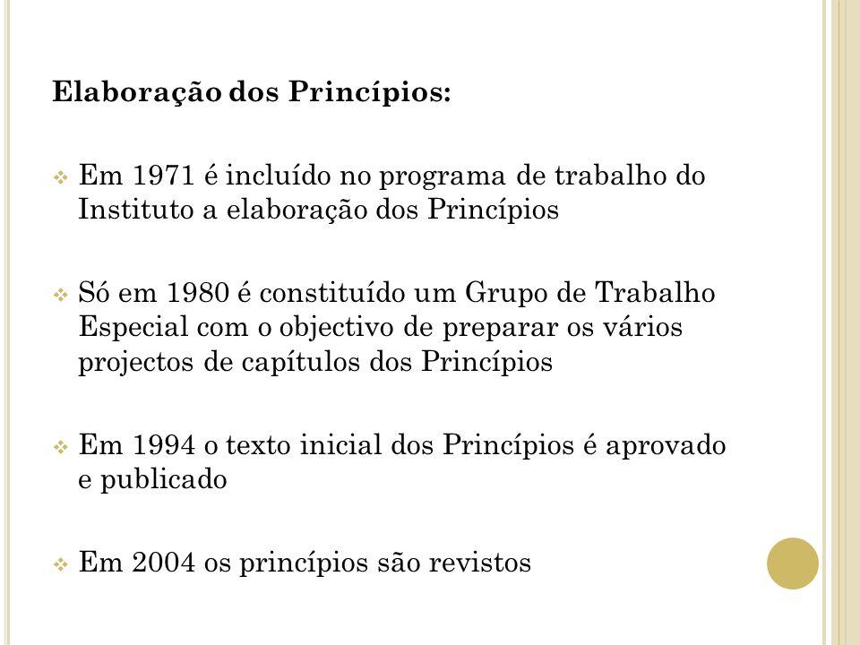 Elaboração dos Princípios: Em 1971 é incluído no programa de trabalho do Instituto a elaboração dos Princípios Só em 1980 é constituído um Grupo de Tr