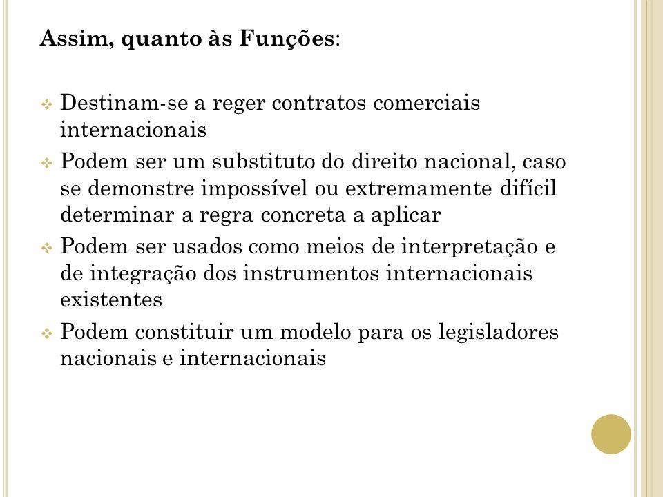 Assim, quanto às Funções : Destinam-se a reger contratos comerciais internacionais Podem ser um substituto do direito nacional, caso se demonstre impo