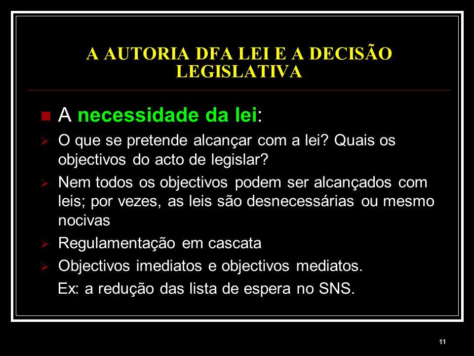 11 A AUTORIA DFA LEI E A DECISÃO LEGISLATIVA A necessidade da lei: O que se pretende alcançar com a lei? Quais os objectivos do acto de legislar? Nem