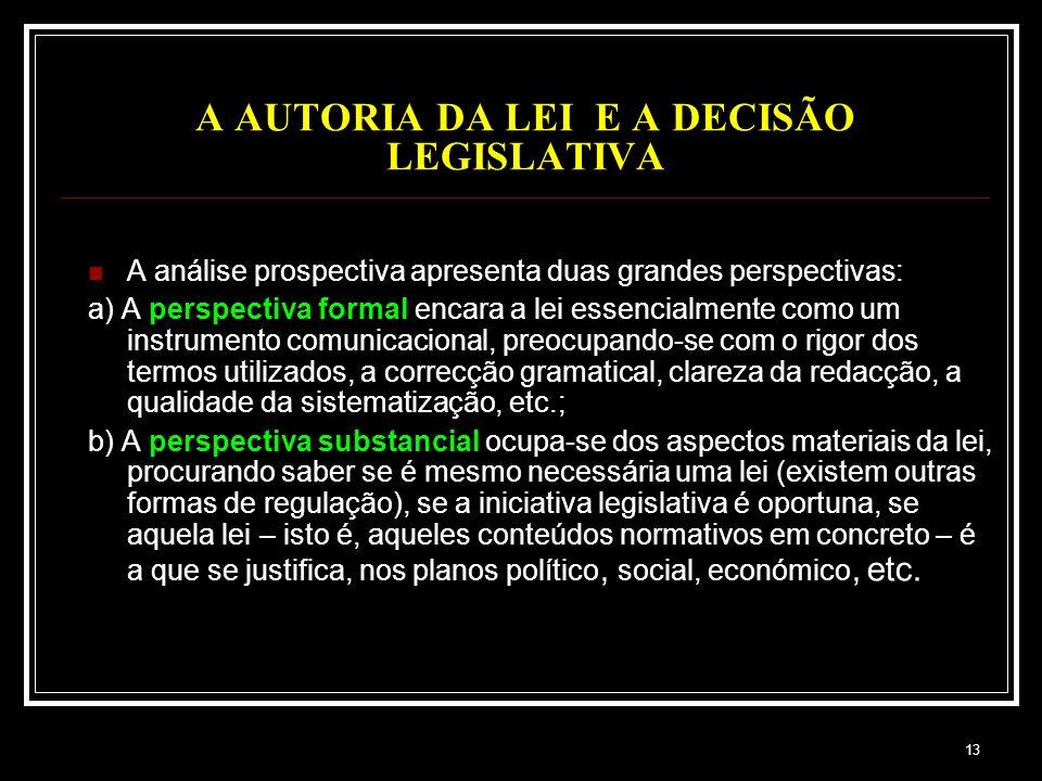 13 A AUTORIA DA LEI E A DECISÃO LEGISLATIVA A análise prospectiva apresenta duas grandes perspectivas: a) A perspectiva formal encara a lei essencialm
