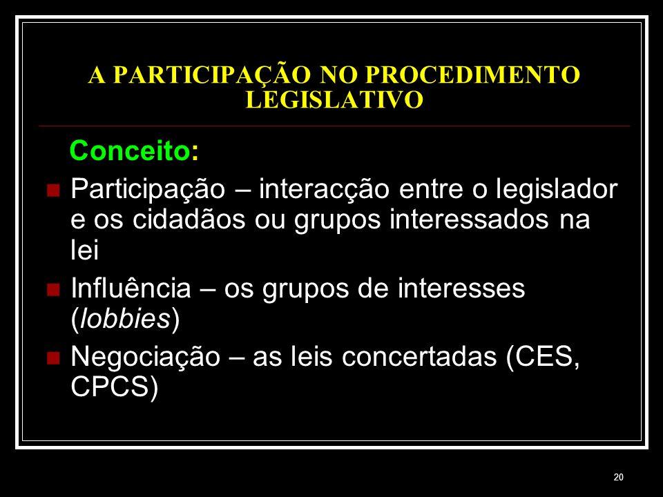 20 A PARTICIPAÇÃO NO PROCEDIMENTO LEGISLATIVO Conceito: Participação – interacção entre o legislador e os cidadãos ou grupos interessados na lei Influ