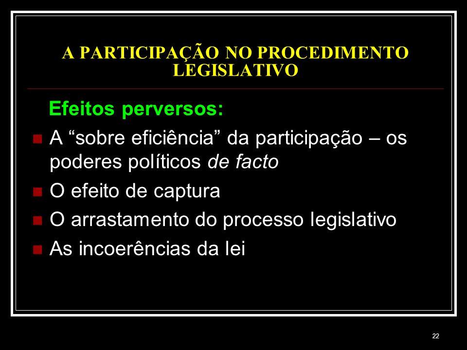 22 A PARTICIPAÇÃO NO PROCEDIMENTO LEGISLATIVO Efeitos perversos: A sobre eficiência da participação – os poderes políticos de facto O efeito de captur