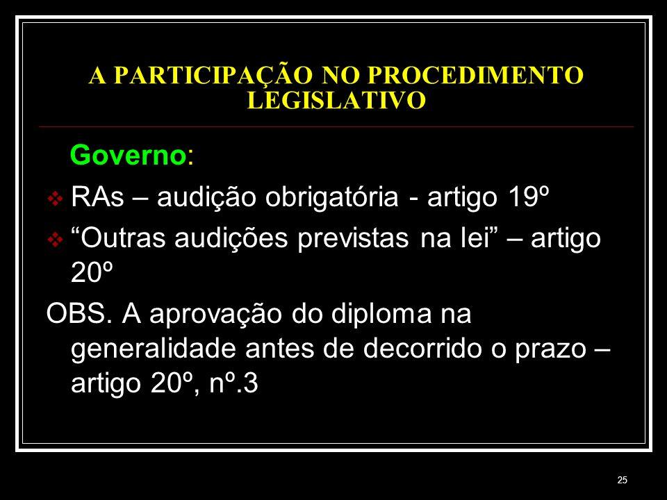 25 A PARTICIPAÇÃO NO PROCEDIMENTO LEGISLATIVO Governo: RAs – audição obrigatória - artigo 19º Outras audições previstas na lei – artigo 20º OBS. A apr