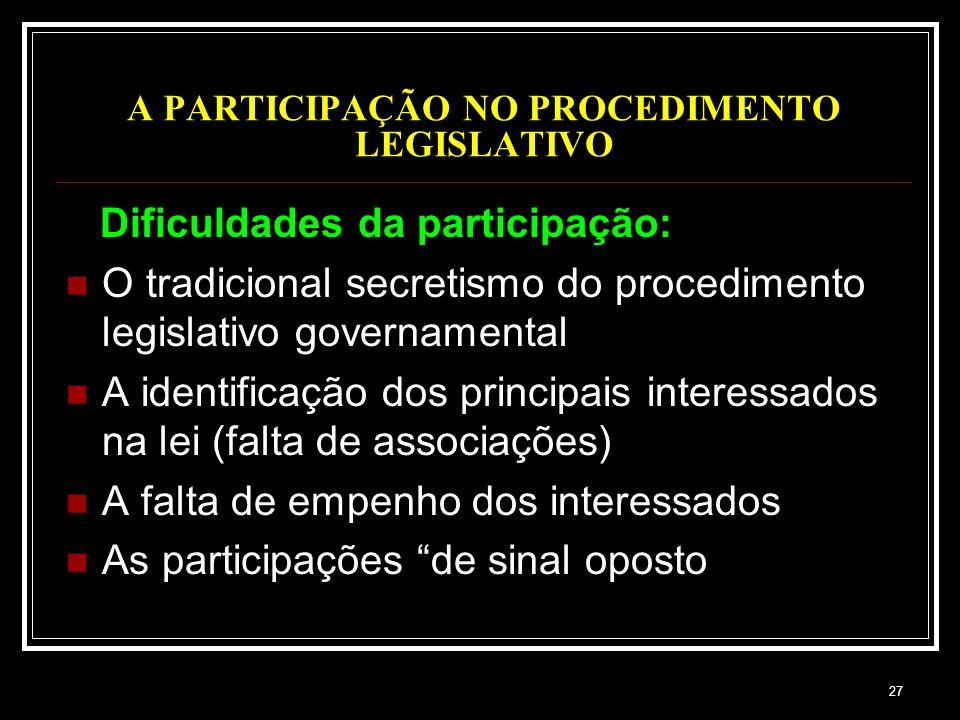 27 A PARTICIPAÇÃO NO PROCEDIMENTO LEGISLATIVO Dificuldades da participação: O tradicional secretismo do procedimento legislativo governamental A ident