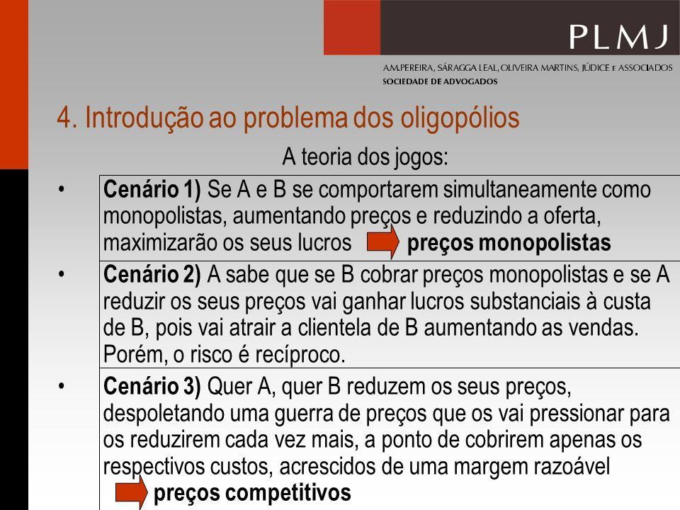 4. Introdução ao problema dos oligopólios A teoria dos jogos: Cenário 1) Se A e B se comportarem simultaneamente como monopolistas, aumentando preços