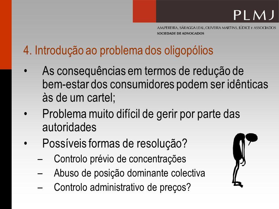 4. Introdução ao problema dos oligopólios As consequências em termos de redução de bem-estar dos consumidores podem ser idênticas às de um cartel; Pro