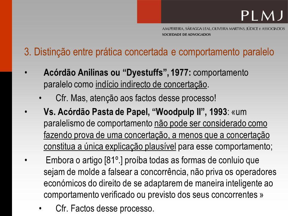 3. Distinção entre prática concertada e comportamento paralelo Acórdão Anilinas ou Dyestuffs, 1977: comportamento paralelo como indício indirecto de c