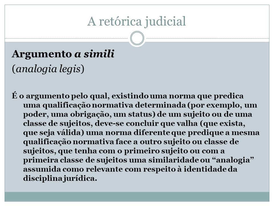 A retórica judicial Argumento a simili (analogia legis) É o argumento pelo qual, existindo uma norma que predica uma qualificação normativa determinad