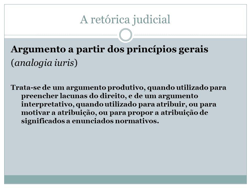 A retórica judicial Argumento a partir dos princípios gerais (analogia iuris) Trata-se de um argumento produtivo, quando utilizado para preencher lacu