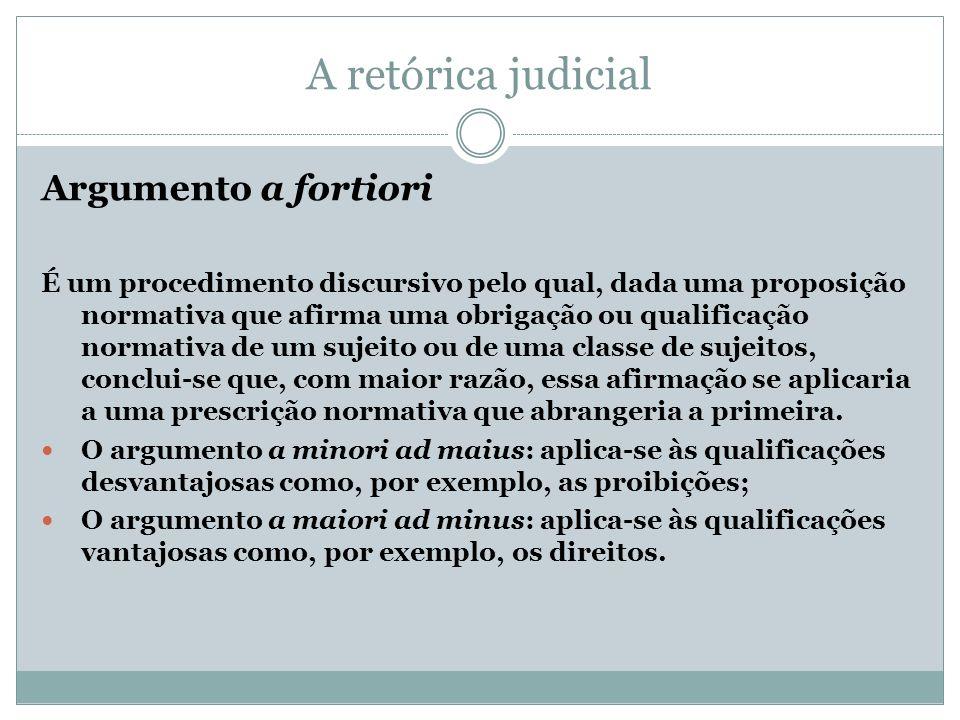 A retórica judicial Argumento a fortiori É um procedimento discursivo pelo qual, dada uma proposição normativa que afirma uma obrigação ou qualificaçã