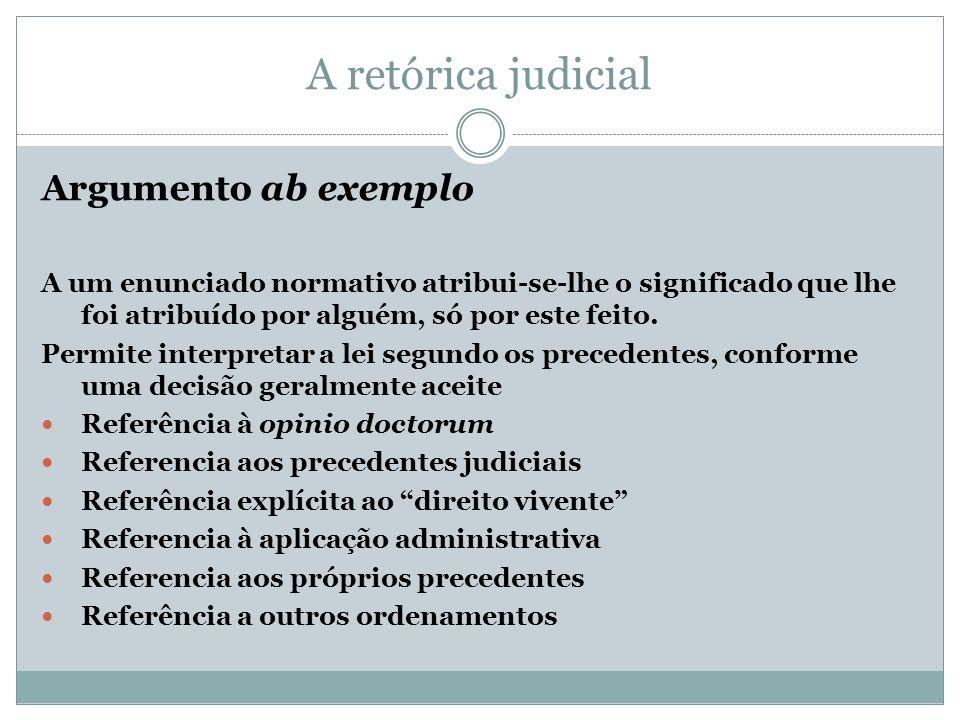 A retórica judicial Argumento ab exemplo A um enunciado normativo atribui-se-lhe o significado que lhe foi atribuído por alguém, só por este feito. Pe