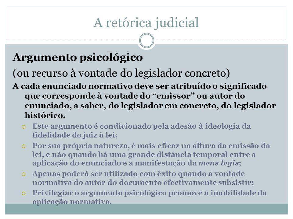 A retórica judicial Argumento psicológico (ou recurso à vontade do legislador concreto) A cada enunciado normativo deve ser atribuído o significado qu
