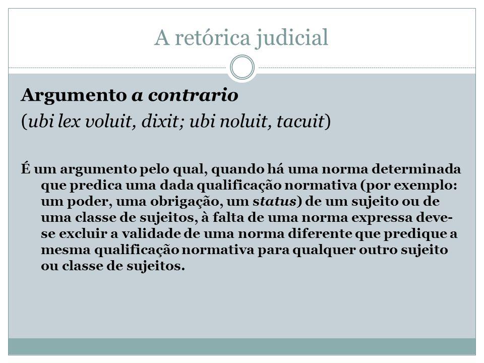 A retórica judicial Argumento a contrario (ubi lex voluit, dixit; ubi noluit, tacuit) É um argumento pelo qual, quando há uma norma determinada que pr