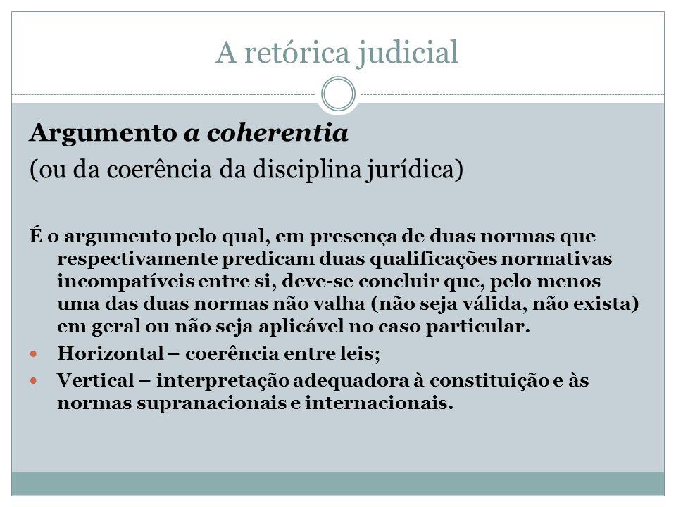 A retórica judicial Argumento a coherentia (ou da coerência da disciplina jurídica) É o argumento pelo qual, em presença de duas normas que respectiva