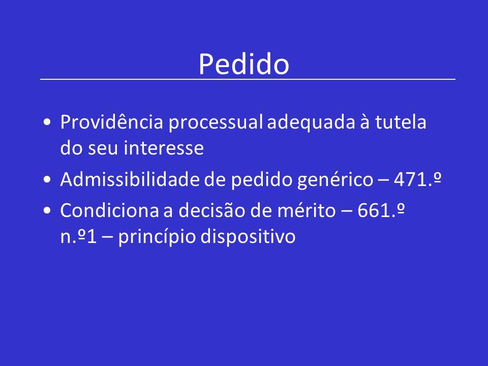Pedido Providência processual adequada à tutela do seu interesse Admissibilidade de pedido genérico – 471.º Condiciona a decisão de mérito – 661.º n.º