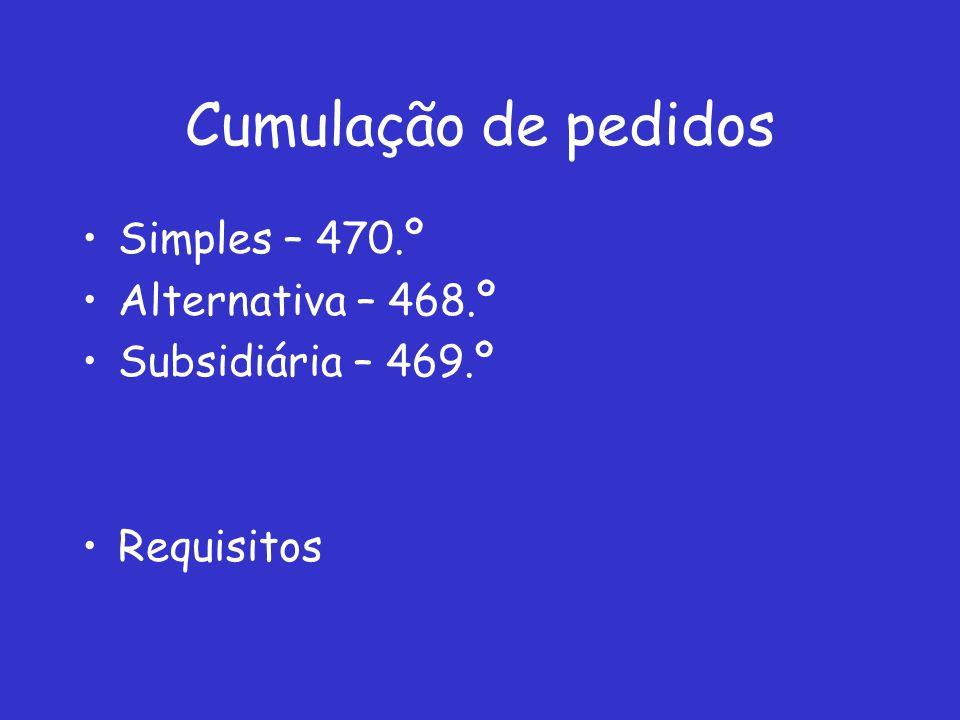Cumulação de pedidos Simples – 470.º Alternativa – 468.º Subsidiária – 469.º Requisitos