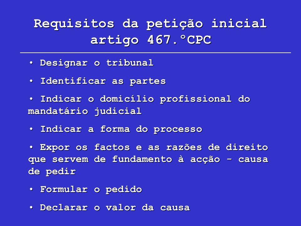 Requisitos da petição inicial artigo 467.ºCPC Designar o tribunal Designar o tribunal Identificar as partes Identificar as partes Indicar o domicílio