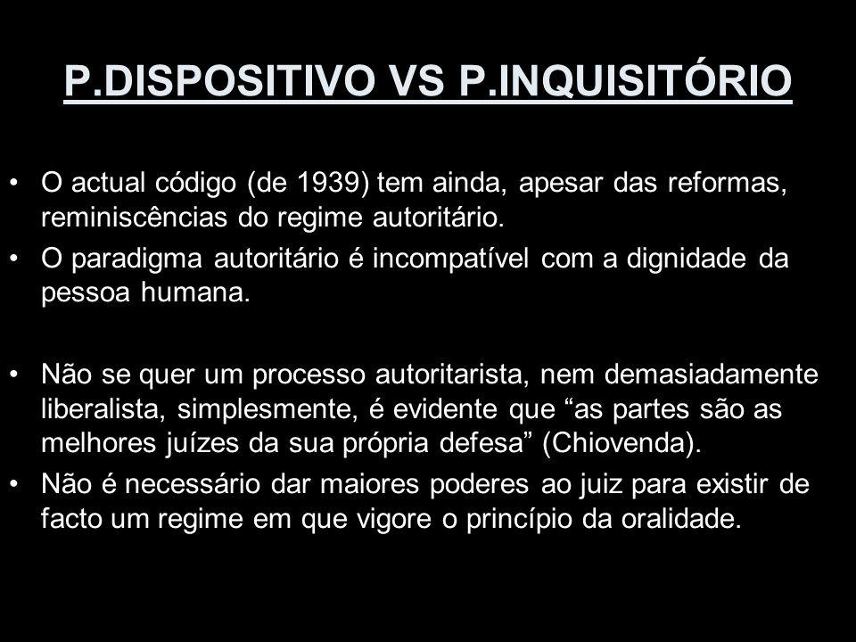 P.DISPOSITIVO VS P.INQUISITÓRIO O actual código (de 1939) tem ainda, apesar das reformas, reminiscências do regime autoritário. O paradigma autoritári