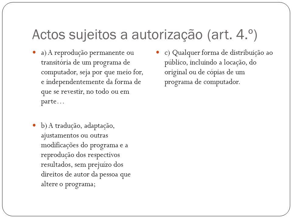 Actos sujeitos a autorização (art.