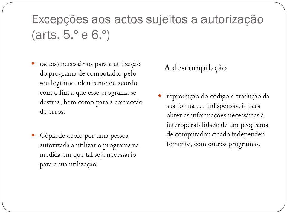 Excepções aos actos sujeitos a autorização (arts.