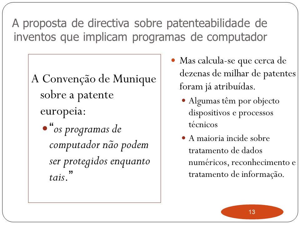 13 A proposta de directiva sobre patenteabilidade de inventos que implicam programas de computador A Convenção de Munique sobre a patente europeia: os programas de computador não podem ser protegidos enquanto tais.
