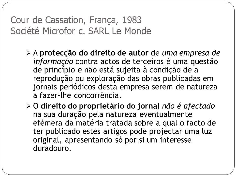 Cour de Cassation, França, 1983 Société Microfor c.