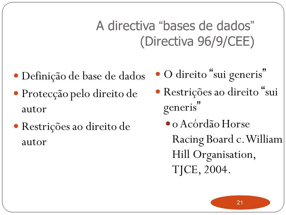 21 A directiva bases de dados (Directiva 96/9/CEE) Definição de base de dados Protecção pelo direito de autor Restrições ao direito de autor O direito sui generis Restrições ao direito sui generis o Acórdão Horse Racing Board c.