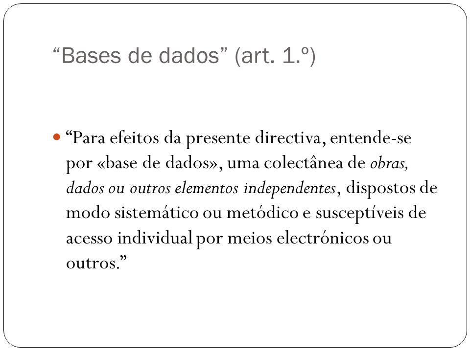 Bases de dados (art.