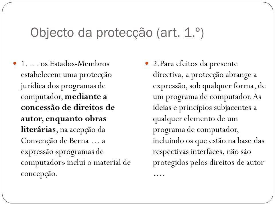 Objecto da protecção (art. 1.º) 1.