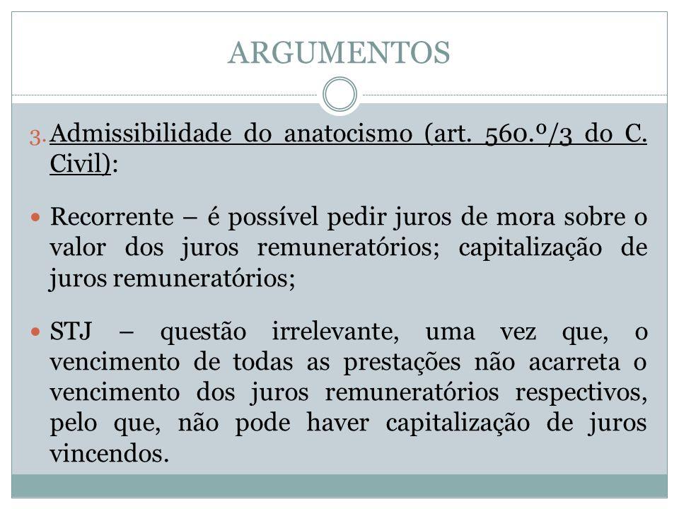 ARGUMENTOS 3. Admissibilidade do anatocismo (art.