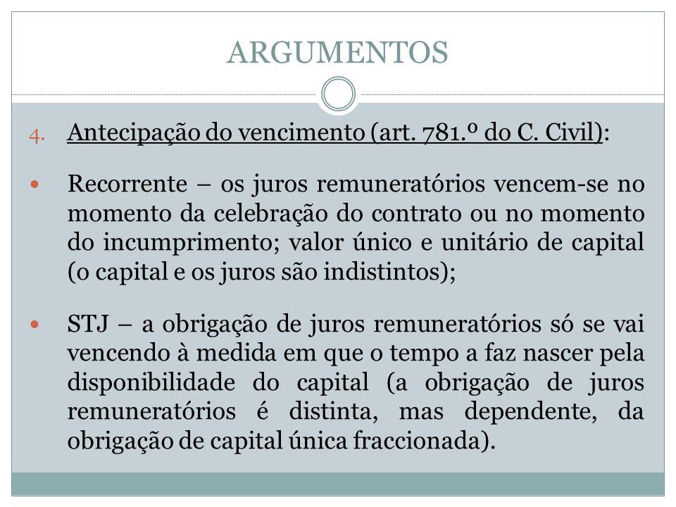 ARGUMENTOS 4. Antecipação do vencimento (art. 781.º do C.