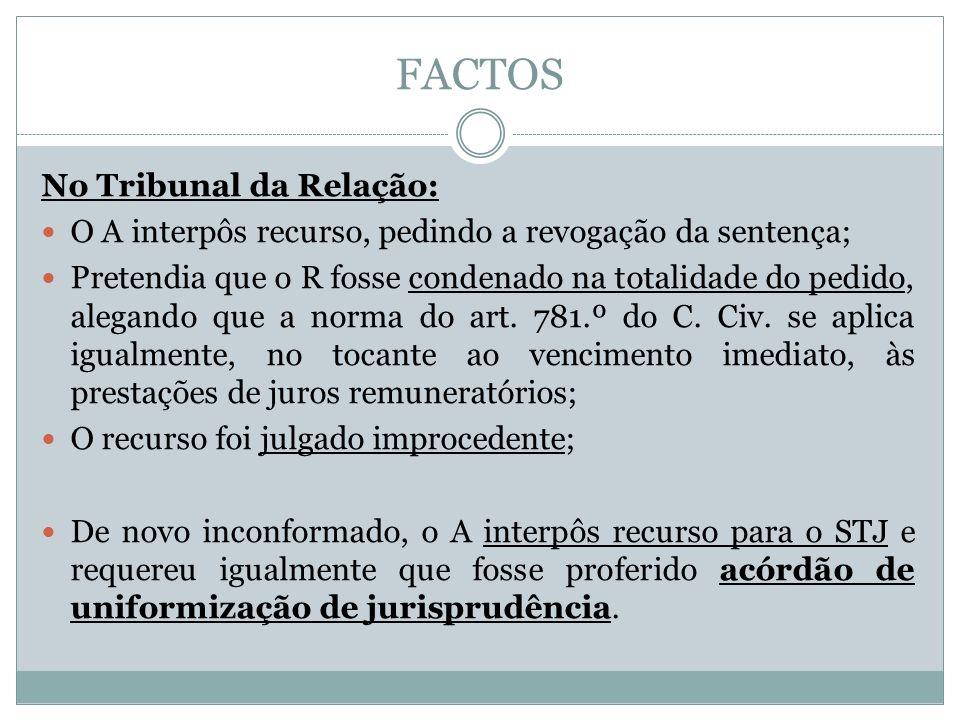 FACTOS No Tribunal da Relação: O A interpôs recurso, pedindo a revogação da sentença; Pretendia que o R fosse condenado na totalidade do pedido, alegando que a norma do art.