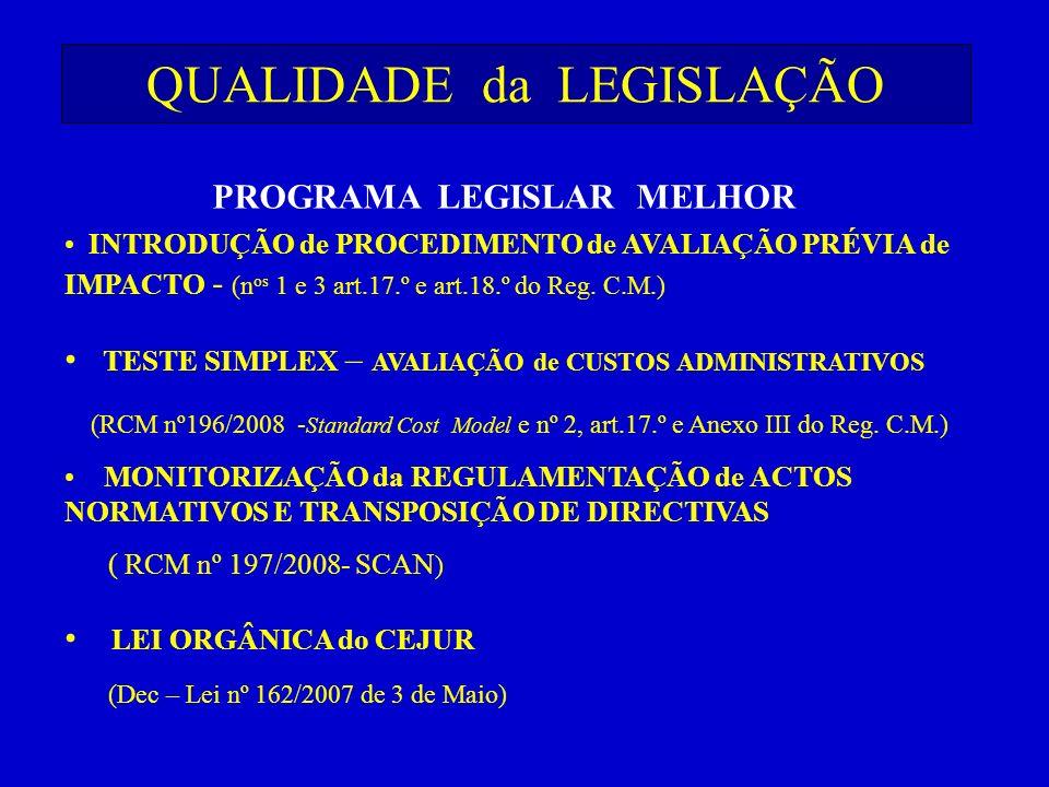 QUALIDADE da LEGISLAÇÃO PROGRAMA LEGISLAR MELHOR INTRODUÇÃO de PROCEDIMENTO de AVALIAÇÃO PRÉVIA de IMPACTO - (n os 1 e 3 art.17.º e art.18.º do Reg. C