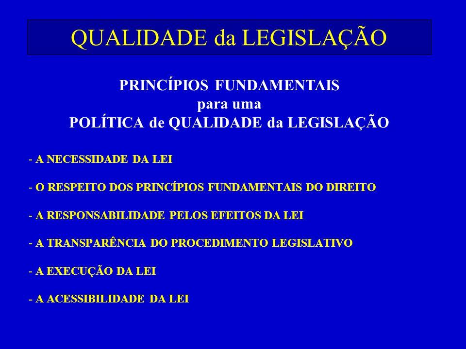 QUALIDADE da LEGISLAÇÃO - A NECESSIDADE DA LEI - O RESPEITO DOS PRINCÍPIOS FUNDAMENTAIS DO DIREITO - A RESPONSABILIDADE PELOS EFEITOS DA LEI - A TRANS