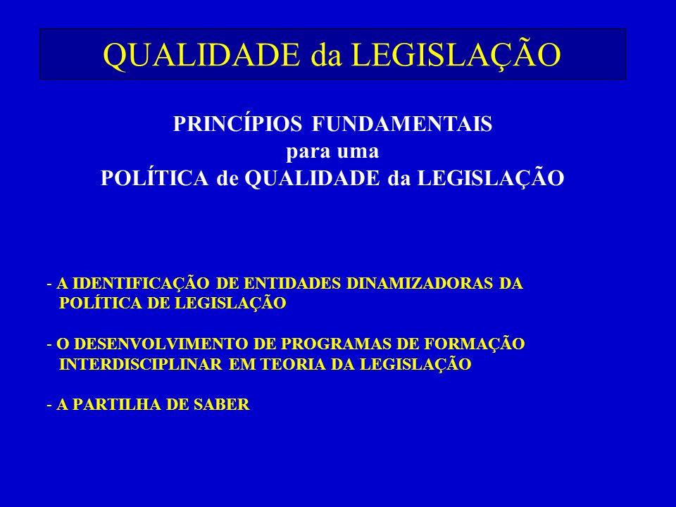 QUALIDADE da LEGISLAÇÃO - A IDENTIFICAÇÃO DE ENTIDADES DINAMIZADORAS DA POLÍTICA DE LEGISLAÇÃO - O DESENVOLVIMENTO DE PROGRAMAS DE FORMAÇÃO INTERDISCI