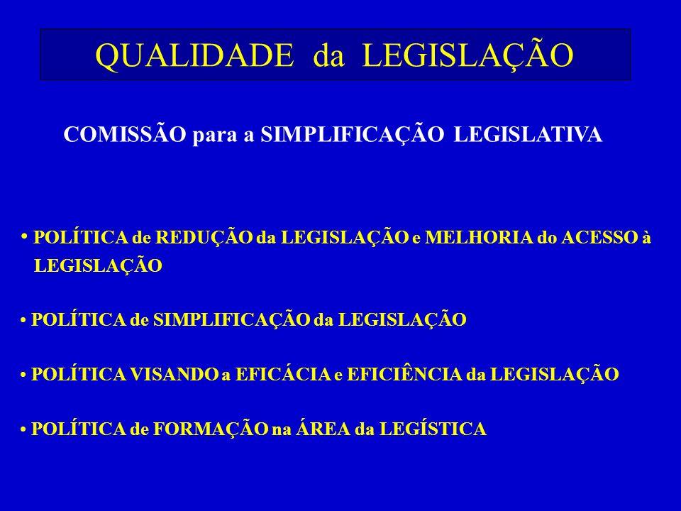 QUALIDADE da LEGISLAÇÃO POLÍTICA de REDUÇÃO da LEGISLAÇÃO e MELHORIA do ACESSO à LEGISLAÇÃO POLÍTICA de SIMPLIFICAÇÃO da LEGISLAÇÃO POLÍTICA VISANDO a