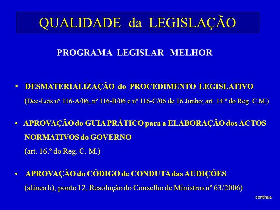 QUALIDADE da LEGISLAÇÃO PROGRAMA LEGISLAR MELHOR DESMATERIALIZAÇÃO do PROCEDIMENTO LEGISLATIVO ( Dec-Leis nº 116-A/06, nº 116-B/06 e nº 116-C/06 de 16