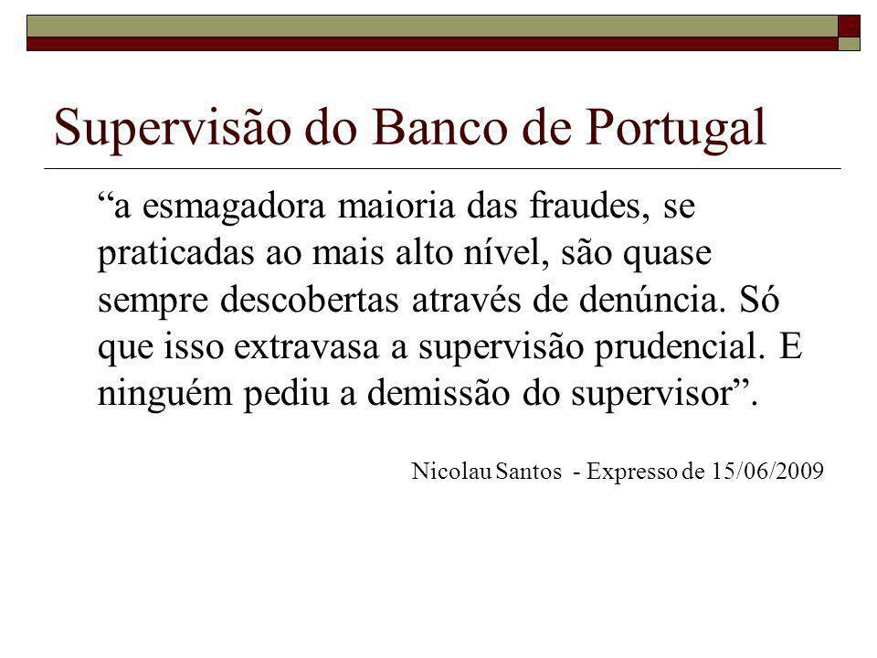 Supervisão do Banco de Portugal a esmagadora maioria das fraudes, se praticadas ao mais alto nível, são quase sempre descobertas através de denúncia.