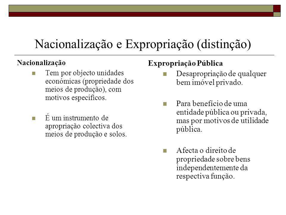 Nacionalização e Expropriação (distinção) Nacionalização Tem por objecto unidades económicas (propriedade dos meios de produção), com motivos específicos.