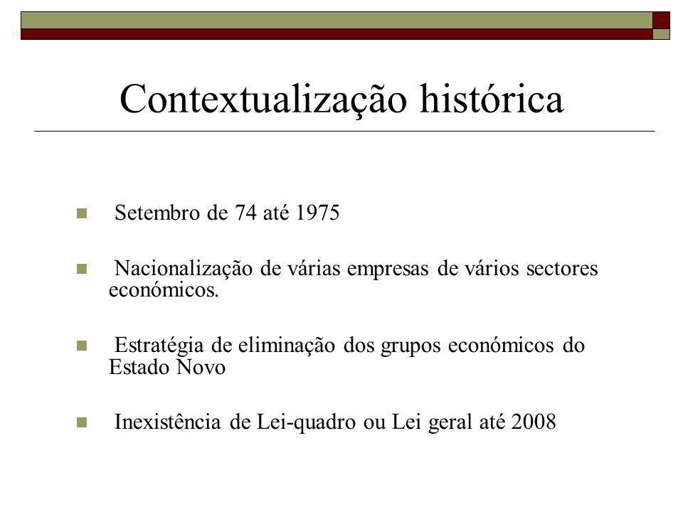 Contextualização histórica Setembro de 74 até 1975 Nacionalização de várias empresas de vários sectores económicos.