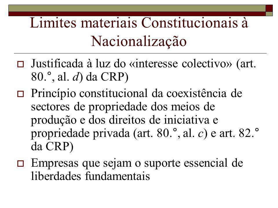 Limites materiais Constitucionais à Nacionalização Justificada à luz do «interesse colectivo» (art.