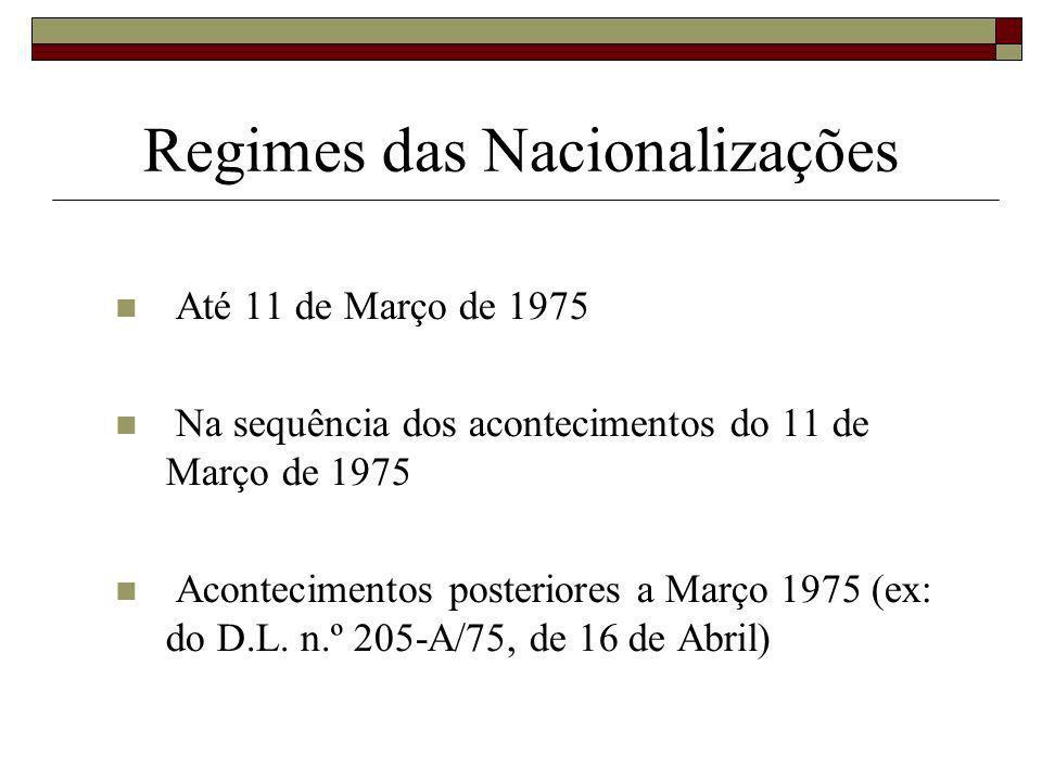 Regimes das Nacionalizações Até 11 de Março de 1975 Na sequência dos acontecimentos do 11 de Março de 1975 Acontecimentos posteriores a Março 1975 (ex: do D.L.
