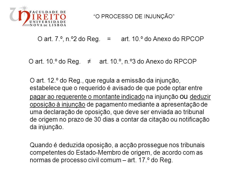 O PROCESSO DE INJUNÇÃO O art. 7.º, n.º2 do Reg. = art. 10.º do Anexo do RPCOP O art. 10.º do Reg. art. 10.º, n.º3 do Anexo do RPCOP O art. 12.º do Reg