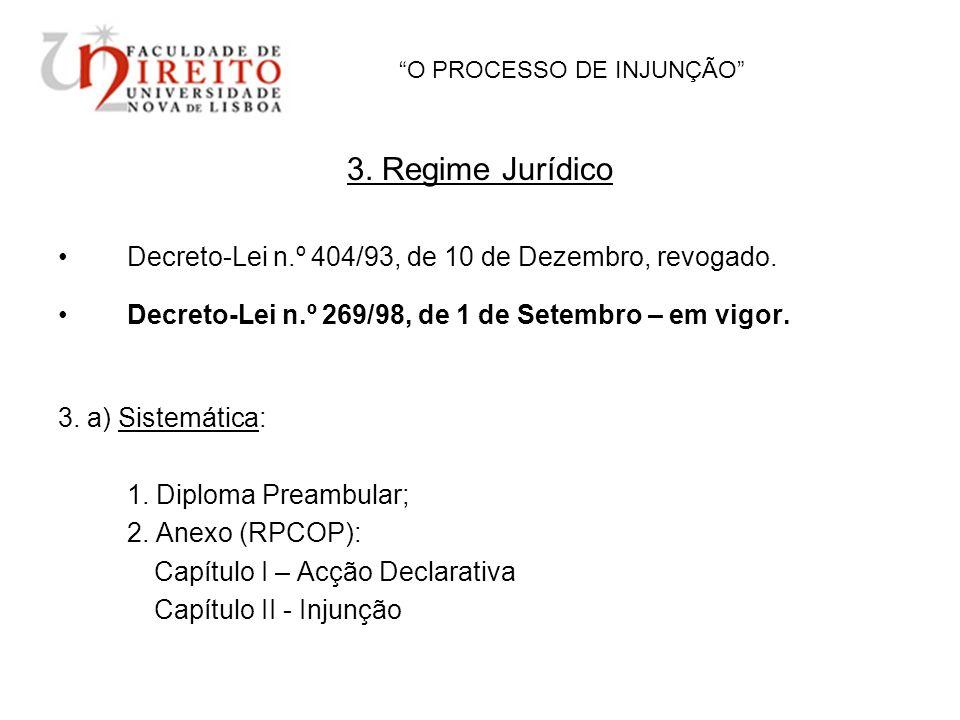 O PROCESSO DE INJUNÇÃO 3. Regime Jurídico Decreto-Lei n.º 404/93, de 10 de Dezembro, revogado. Decreto-Lei n.º 269/98, de 1 de Setembro – em vigor. 3.