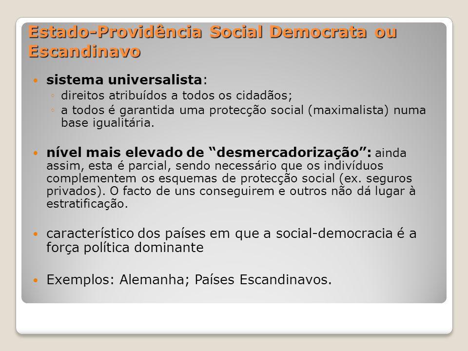 Estado-Providência Social Democrata ou Escandinavo sistema universalista: direitos atribuídos a todos os cidadãos; a todos é garantida uma protecção s